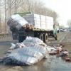 В Омске на дороге грузовик «потерял» несколько упаковок пива