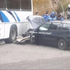 В Омске на Комбинатской легковушка врезалась в автобус «Газпрома»