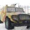 На территории ЛИУ №2 в Омске расположилась спецназовская машина «Тигр» из снега