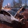 После аварии у стадиона «Красная звезда» два авто превратились в груды металла