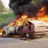 На трассе Омск-Павлодар загорелась иномарка