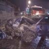 В Омске иномарка протаранила гараж с авто
