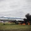 В Омском аэропорту загорелся самолет