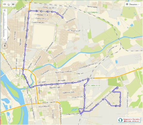 Схема движения автобуса № 72