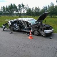 Audi разбилась в ДТП на окраине Омска