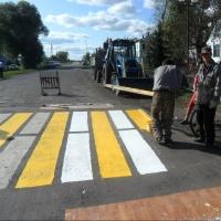 На дороге в омском регионе нарисовали «зебру» с помощью линолеума