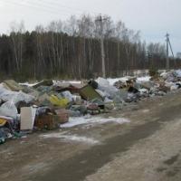 В Омской области мусорная свалка мешает движению по трассе