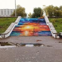 Омская художница превратила лестницу на «Зеленом острове» в арт-объект