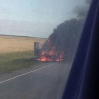 На трассе Омск-Одесское загорелась «Газель» с пятью пассажирами