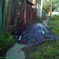 В Омске на Марата куча угля перегородила тротуар на неделю