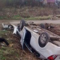 В Омской области автоледи перевернулась на иномарке и погибла
