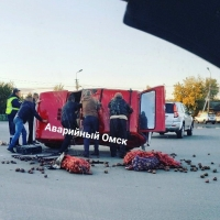«Нива», набитая картошкой, перевернулась в Омске