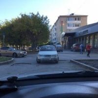 Омская «яжемать» припарковала машину с двумя детьми посреди дороги