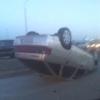 В Омске на Конева перевернулась машина