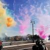 Омичи увидели обновленный Юбилейный мост в разноцветном дыму