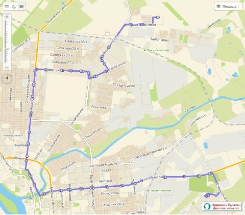 Схема движения автобуса № 2