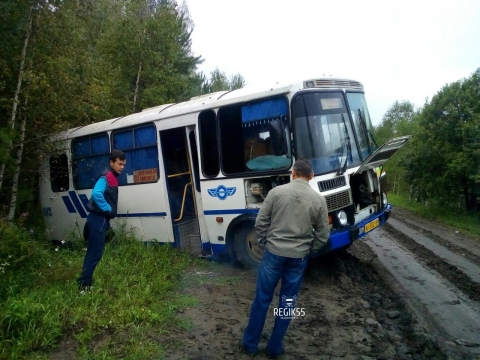 В Омской области рейсовый автобус с пассажирами съехал в кювет