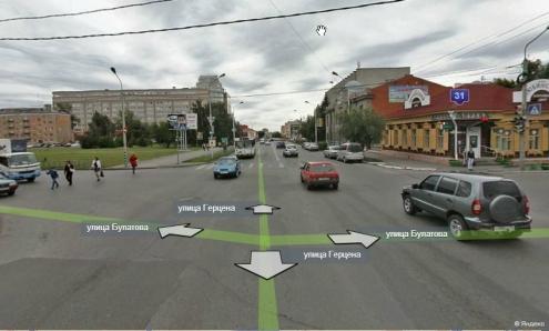 Светофору на перекрестке Герцена и Булатова добавили секции с правым поворотом