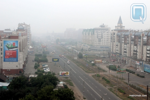Мгла окутала город Омск
