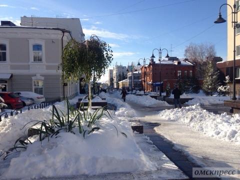 Омский Арбат зимой
