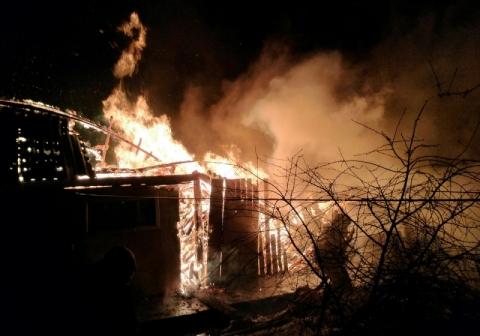 Ночной пожар в Омске