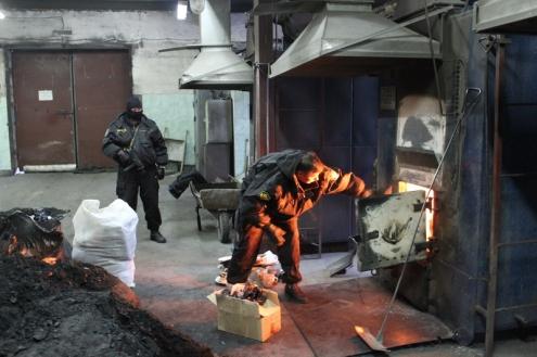 В Омске сожгли 134 килограмма наркотиков на 50 миллионов рублей