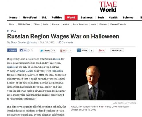 Журнал TIME рассказал про запрет Хэллоуина в Омске