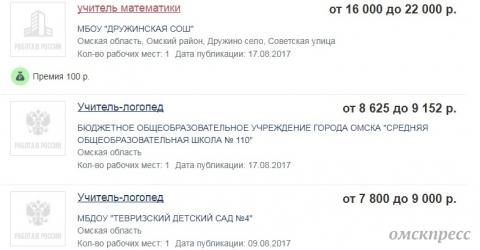 В Омской области ждут влюбленных учителей на зарплаты от 7800