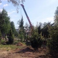 В подарок омичам к 300-летию Омска благоустраивают новый сквер в Советском округе