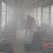 В Омске из-за короткого замыкания загорелся трамвай