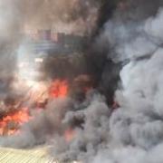 В Советском округе загорелся склад