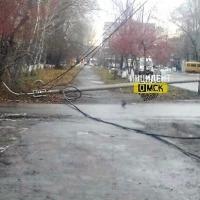 В Омске на тротуар рухнул столб