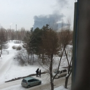 Горит омский каучуковый завод