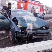 В Омске на Волгоградской улице иномарка снесла столб