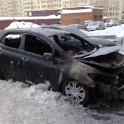 В центральном округе Омска ночью сгорел автомобиль