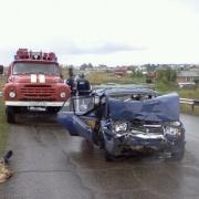 После лобового столкновения в Омской области сгорел автомобиль