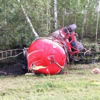 В Омской области при столкновении с «семеркой» фура лишилась прицепа