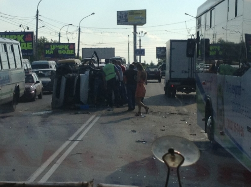 На Ленинградском мосту произошла крупная авария