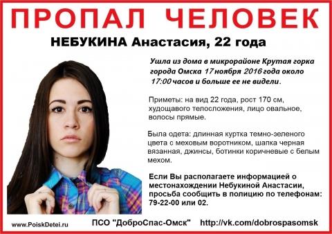 По факту безвестного исчезновения Анастасии Небукиной в Омске возбуждено уголовное дело