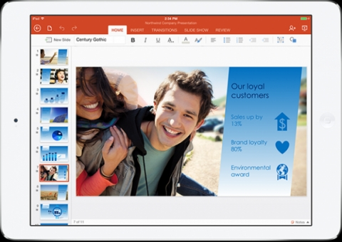 Microsoft выпустила пакет Office для iPad