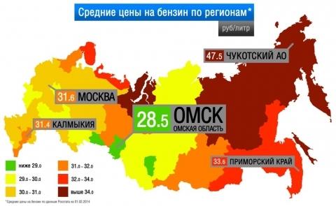 Омская область остается рекордсменом по ценам на бензин