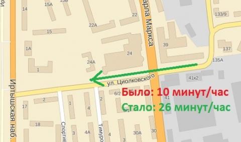 """Для проезда на Иртышскую набережную у """"Каскада"""" будет в 2,5 раза больше времени"""