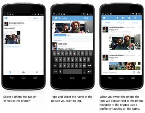 В твиттере теперь можно прикреплять несколько фото и отмечать на них людей