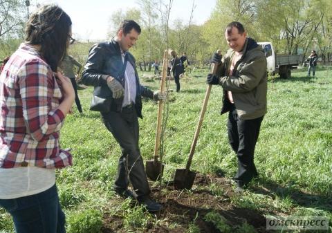 Омские журналисты посадили деревья в парке юннатов