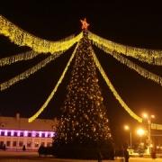 В Омске появились новогодние ёлки и праздничные гирлянды