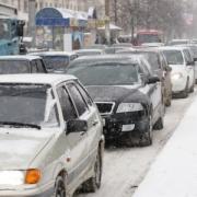 Снегопад довёл омские пробки до 8 баллов