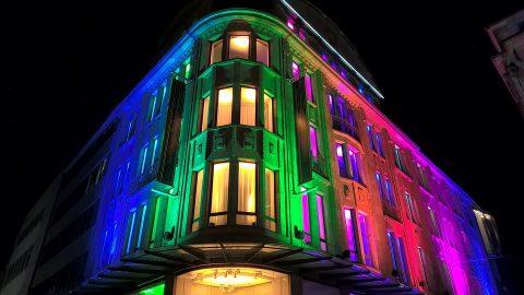 Цветное освещение фасада