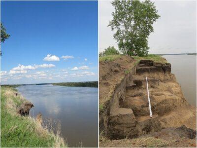 Старое кладбище размыло рекой в Омской области