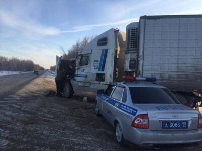 Омские госавтоинспекторы пришли на помощь челябинскому дальнобойщику
